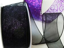 5 yds Purple Sparkle Black Sheer Wired Ribbon Halloween Party Wreath Gifts Decor