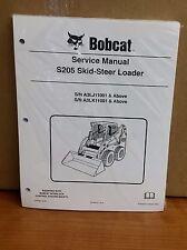 Bobcat S205 Skid Steer Loader Complete Shop Service Repair PN# 6987050