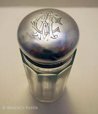 Antique Sterling Silver Top Lid English Glass Jar/Pot/Bottle Edwardian/Victorian