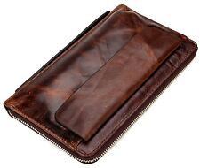 Vintage Genuine Cowhide Men's Travel Clutch Bag Leather Purse Bifold Wallet New