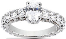 3.59 carat DIAMOND Engagement Ring Wedding Band, 2 ct Oval shape G color SI1