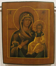 "RUSSIAN HAND PAINTED ICON  ""VIRGIN of SMOLENSK""  19 th century"