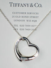 "Tiffany & Co Elsa Peretti Sterling Silver 27mm Open Heart Pendant 18"" Necklace"
