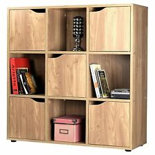Oak Finish 5 Door 9 Cube Wooden Storage Unit Display Shelving Book Shelves NEW