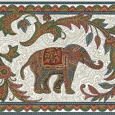 Asian Inspired, Elephant, Monkey, Horse, Paisley Wallpaper Border (173mm x4.57m)
