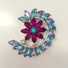 New Blue Moon Crescent Purple Flower Wedding Party Crystal Brooch Pin BR1198