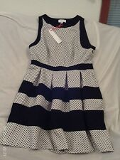 "Ladies ""ELLE"" Size 12, Black/White Polka-Dot, Pleated Skirt, Sleeveless Dress"