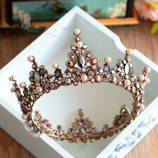 Pageant Full Round Tiara Bridal Crown Wedding Rhinestone Headpiece Hair Jewelry