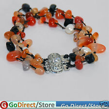 7.5 Inches Three Strand Agate Chips White Pearl Bracelet,  fashion accessories