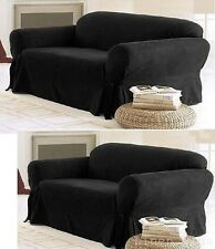 2-PC Black Micro Suede Couch Sofa Loveseat  Slip cover New