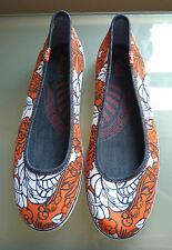 Keds Nuevos Zapatos De Las Señoras 5 bombas de ballet informal de verano vacaciones naranja floral £ 50
