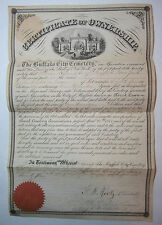 RARE   - 1873 Forest Lawn Cemetery - Plot Signed Certificate Buffalo NY Document
