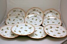 10 ANTIQUE MEISSEN  HAND PAINTED PURPLE PANSIES  6''  DESSERT PLATES