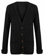 LADIES ARAN BUTTON WOMENS CHUNKY GRANDAD CABLE KNITTED CARDIGAN JUMPER
