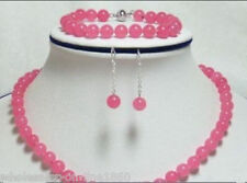 Pretty 8mm Pink Natural Jade Round Beads Necklace Bracelet Earrings Jewelry Set