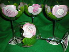 HAND PAINTED PINK CABBAGE ROSE 19 OUNCE  BALLOON GOBLETS/ SET/4(MADE IN THE USA)