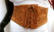 "SEXY VELVET BROWN LACE-UP WIDE 4"" CORSET STRETCH CINCH WAIST BELT SIZE XS-S-M-L"