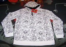 Nintendo Super Mario Enemies Mens White Printed Hoodie Jumper Top Size XS New
