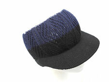 BLACK/BLUE~RASTA~JAMAICA~COTTON~UNISEX~HAT~CAP~SKULLY~WITH VISOR~MARLEY - NEW