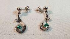 14k white gold Diamond & Emerald earrings