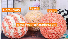 Coral & Ivory Rose Flower Ball Pomander Wedding Ball Kissing Ball 9-10 inches