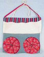 Vintage Potholder Bag with Pocket Muslin Wagon Design Hand Stitched Retro