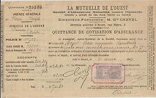 ANCIENNE QUITTANCE D'ASSURANCEMUTUELLE DE L'OUEST/M.CREVEL/1899-TIMBRE QUITTANCE
