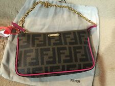 NEW FENDI  ZUCCA LOGO SMALL POUCH CLUTCH WRISTLET