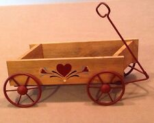 "Homco Country Hearts Wagon Wooden/Metal Painted Wall Pocket 16""Wx5""H Great!"