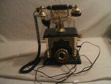 Telephone French Victorian Style 1980's Vintage Works Black Push Button Dial