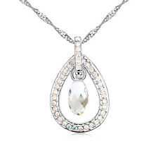 18K Gold GP Swarovski Element Crystal Water Drop Pendant Necklace White