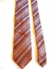 "VAKKO - BRONZE WITH SILVER/BLUE FLORAL AND DOUBLE GOLD STRIPES - SILK TIE 57""L"
