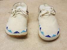 SIZE 11 EXTRA WIDE HAND CRAFTED BEADED BUCKSKIN NATIVE AMERICAN INDIAN MOCCASINS