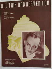 All This And Heaven To- 1939 Sheet Music - Eddie De Lange and Jimmy Van Heusen