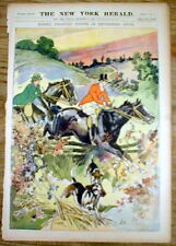 1899 newspaper w Large Color poster Victorian-era Man & Woman HORSEBACK RIDING