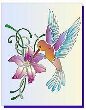GLITZCRAFT High Quality Humming Bird_2  Stencil 10.5cms x12cms
