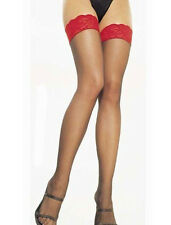 LOVELY SILKY BLACK STOCKINGS  WITH RED LACE TOPS (not holdups)