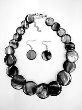 Fashion Gray Color Shell Disc Necklace With Dangle Hook Style Earrings Set