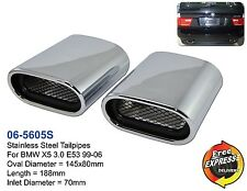 Exhaust tips tailpipe trims 145x80mm Stainless Steel for BMW X5 3.0 E53 99-06