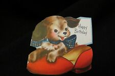 Vintage SLIPPER & Puppy Birthday card c. 1950s by: hallmark