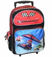 "Mario Kart 7 16"" Rolling Backpack School Bag, New"