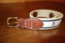 Rugby by Ralph Lauren RARE White and Blue Canvas and Leather England Crest Belt