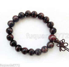 10mm Red Rosewood Prayer Beads Buddhist Wrist Japa Mala Bracelet With Kwan-Yin