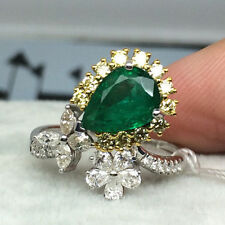 18ct White/Yellow Gold Stunning Natural Emeralds and Diamond Cocktail Ring VS