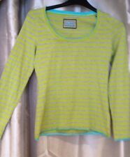 Boden Ladies Lime Green and grey striped Top T-shirt Size 10 long sleeved