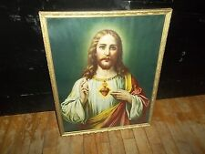 PHENOMINAL ANTIQUE 21 X 17 FRAMED RELIGIOUS PICTURE JESUS COLLECTIBLE