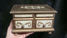 JAPAN Florentine Italian Style Tole Musical Jewelry Box Cream Gold  #3
