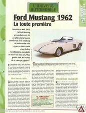 Ford Mustang 1962 Moteur V4 Sport USA Car Auto FICHE FRANCE