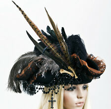 Piraten Hut Handmade Pirate Lolita Hat Gothic Steampunk Victorian Feather Cross