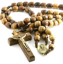 Brown Carved Wood Rosary Beads on Cord Blessed Heart of Jesus Center